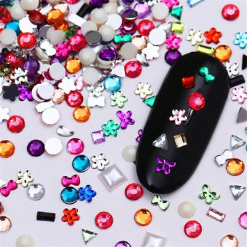 BONNIESTORE Nail Decals 16g Colorful Rhinestone Bowknot Flower Rectangle Square Flat Bottom Resin 3D Nail Art Decoration DIY