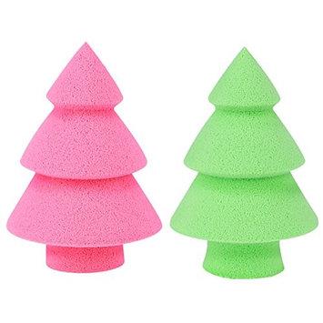 Fascigirl 2Pcs Christmas Powder Puff Tree Shaped Silicone Makeup Sponge Blending Sponge for Cream Liquid Foundation