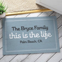 Personalized This Is The Life Doormat, Blue