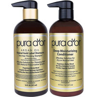 PURA D'OR Gold Label Anti-Thinning Deep Moisturizing Therapy Shampoo & Conditioner Set, Clinically Tested Effective Solution, Infused with Organic & Natural Ingredients for All Hair Types, Men & Women