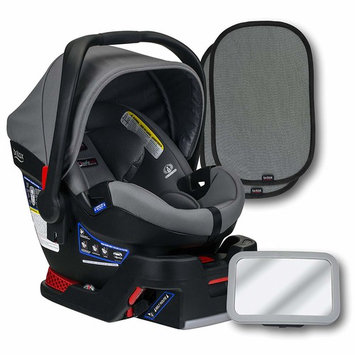 Britax B-Safe Ultra Infant Car Seat, Gris, Back Seat Mirror, and 2 EZ-Cling Window Sun Shades [Infant Car Seat and Base Bundle]