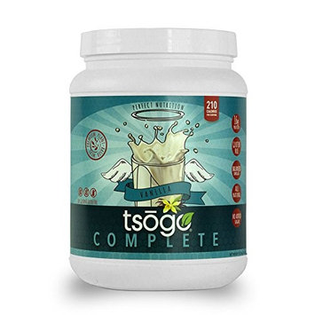 Tsogo Complete Meal Replacement Powder w/16g of Plant Based Protein/Serving, Smooth Vanilla Flavor, Soy, Gluten & Dairy Free, High Fiber, Low Carb, 210 Cal/Serving(1 Tub, 20 Servings, 36oz 1.02kg)