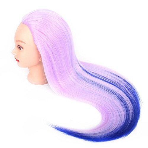 "24"" Cosmetology Mannequin Head 100% Synthetic in Two-Tone Hair Color, Practice Training Hair Styling Mannequin Head"