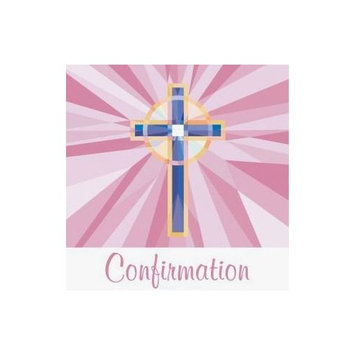 Confirmation 3-Ply Beverage Napkins, Pink Stained Glass 36 Per Pack
