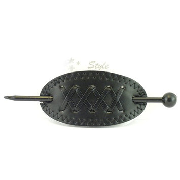 Leather With Plastic Slide Stick Oval Hair Pin Barrette (Black)