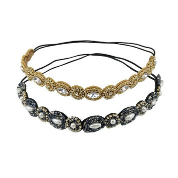yueton Pack of 2 Handmade Crystal Rhinestone Beads Elastic Headband Hair Band Women Hair Accessories (Navy blue + G