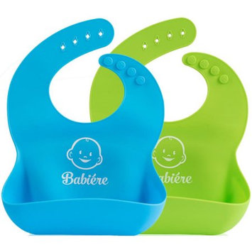 Prilda Babi ©re Silicone Baby Bibs, Set of 2 (Blue and Green) + Free Silicone Baby Spoon
