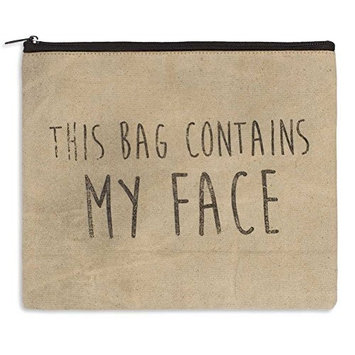 THIS BAG CONTAINS MY FACE - Sturdy Canvas Toiletry Pouch Make up case Cosmetic Travel Tote Bag 11