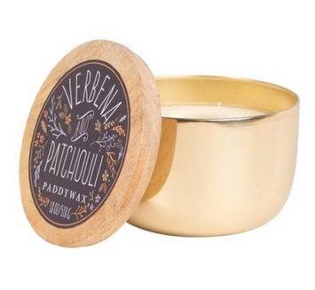 Cc Home Furnishings Paddywax Foundry Collection Verbena & Patchouli Scented Soy Wax Candle in Gold Tin 18 oz