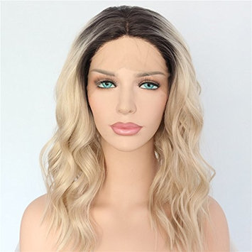 QD-Udreamy Ombre Blonde Wigs Dark Roots 4# Short Wavy Hand Tied Heat Resistant Glueless Synthetic Lace Front Wigs for Women Daily Wear