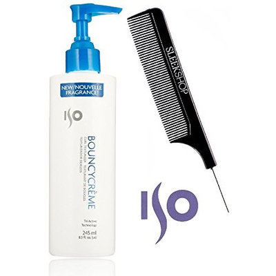 ISO Bouncy Creme CURL TEXTURIZER Curling Cream (with Sleek Steel Pin Tail Comb)