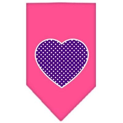 Dog Supplies Purple Swiss Dot Heart Screen Print Bandana Bright Pink Large