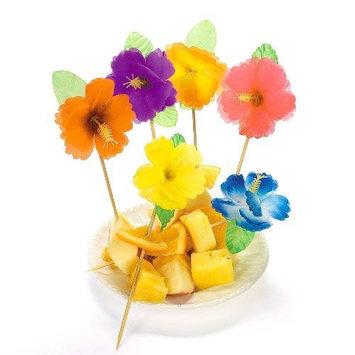 Colorful Hibiscus Food Picks (12 dz)