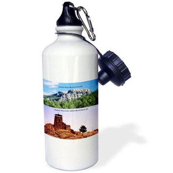 3dRose Harney Peak and Harney Peak Fire Tower, Black Hills, SC, Sports Water Bottle, 21oz