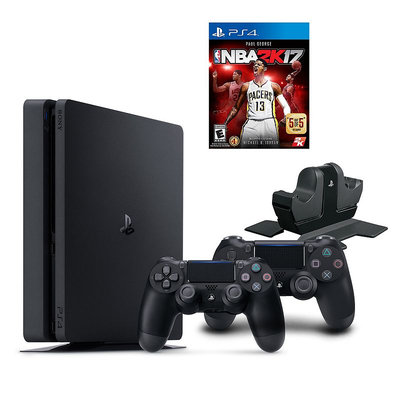 Sony Playstation 4 1TB NBA 2K17 Bundle with Charging Station & 2 Controllers, Multicolor