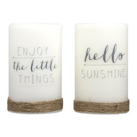 Laura Ashley Lifestyles Sentiments LED Candle 2-piece Set, Multicolor