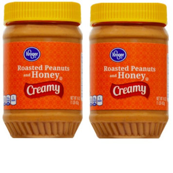Kroger Roasted Peanuts and Honey Creamy Peanut Butter 16 oz (2 pack)