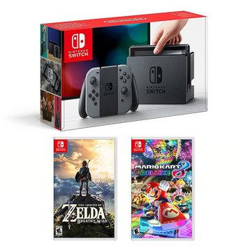 Nintendo Switch Legend of Zelda Breath of the Wild & Mario Kart 8 Deluxe Bundle, Multicolor