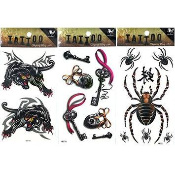 TT-SET-A006 - 3 Sheets (1 Tiger Tattoos, 1 Spider Tattoos, 1 Key Tattoos) of Temporary Tattoos, Fashion Tattoos, Body Tattoos Pictures - DIY Temporary Tattoos For Adults - Approx. Size : 6.25