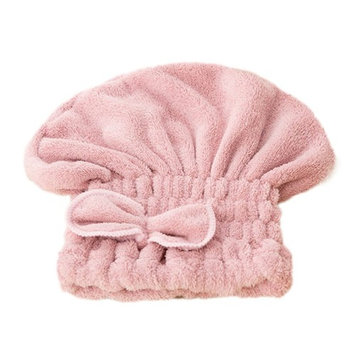 Women Bow knot Microfiber Absorbent Shower Cap Quickly Dry Hair Hat Wrapped Towel Bathing Cap Pink