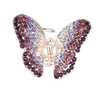 MagiDeal Ladies' Rhinestone Butterfly Spring Hair Claw Clip Clamp Styling Accessory Small - Purple