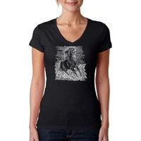 Los Angeles Pop Art Women's Word Art V-Neck T-shirt - Popular Horse Breeds - Online Exclusive [Fit : Women's]