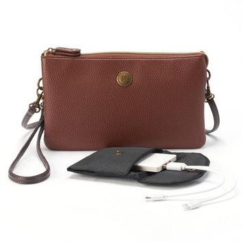 Stone & Co. Trifecta Pebbled Leather Phone Charging Convertible Crossbody Bag, Women's, Med Brown