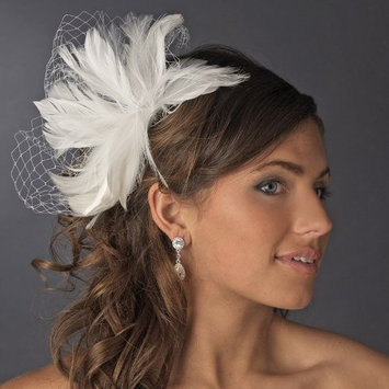 Lyubov Feather Fascinator with Bird Cage Veiling Comb