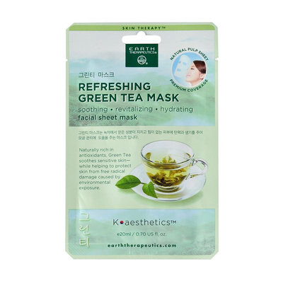 Earth Therapeutics Refreshing Green Tea Face Mask, Multicolor