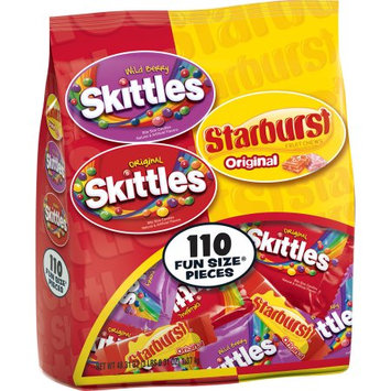 Assorted Skittles and Starburst Halloween Fun Size Variety Bag, 110 pieces