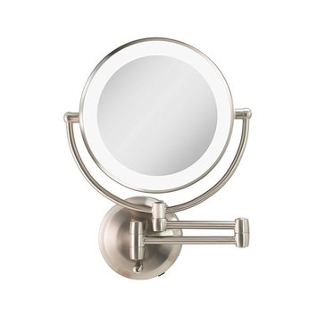 Zadro Cordless Dual LED Lighted Round Wall Mount Mirror with 1X & 5X magnification in Satin Nickel Finish