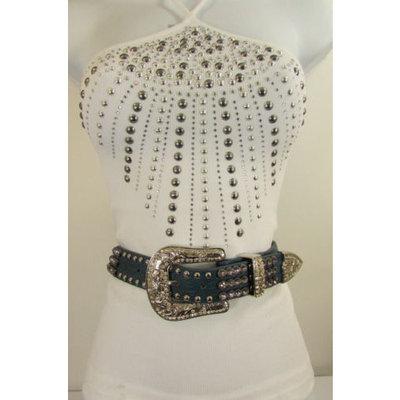 Women Brown Red Blue Genuine Leather Western Fashion Belt Crystals 31-35 M