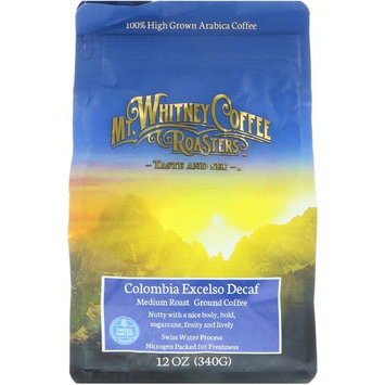 Mt. Whitney Coffee Roasters, Columbia Excelso Decaf, Ground Coffee, 12 oz (340 g) [Flavor : Columbia Excelso Decaf]