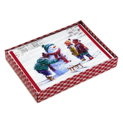 Hallmark 16-Count Snowman & Kids Boxed Holiday Cards, Black