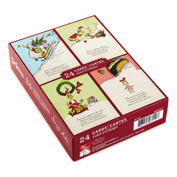Hallmark 24-Count Assorted Grinch Boxed Holiday Cards, Black