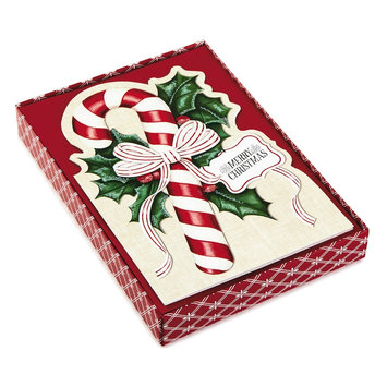 Hallmark 16-Count Diecut Candy Cane Boxed Holiday Cards, Black