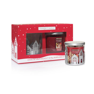 Yankee Candle Village Candle Holder & Sparkling Cinnamon 7-oz. Candle Jar 2-piece Set, Multicolor