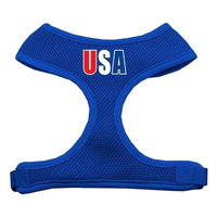 Mirage Pet Products USA Star Screen Print Soft Mesh Dog Harnesses, Medium, Blue
