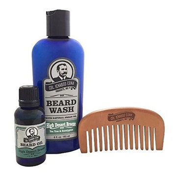 Col Ichabod Conk High Desert Breeze Beard Wash & Beard Oil Combo Pack with Comb