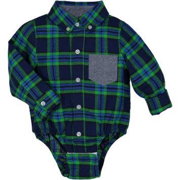 G-Cutee Newborn Baby Boy Blue Lime Flannel Plaid Shirt