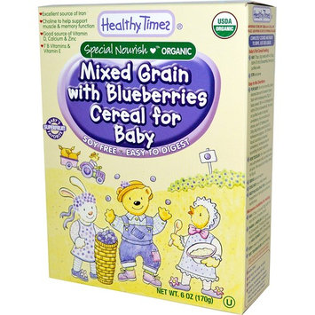 Healthy Times, Organic, Mixed Grain with Blueberries Cereal for Baby, 8 oz (227 g) [Flavor : Mixed Grain with Blueberries]