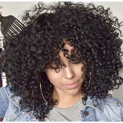 Mildiso Afro Wigs for Black Women Short Curly Wig with Bangs Kinkys Wigs African American Hair Wig Jet Black with Wig Cap M023
