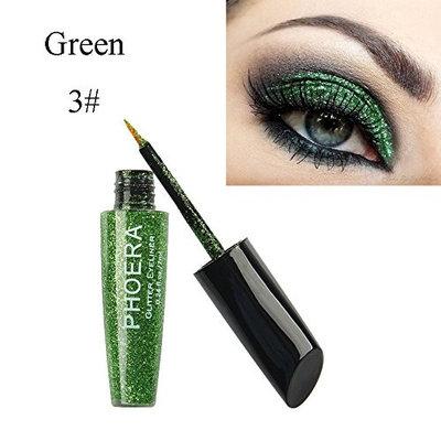 Snowfoller 10 Color Makeup Metallic Shiny Eyes Eyeshadow Waterproof Glitter Liquid Eyeliner Wateroroof Lasting