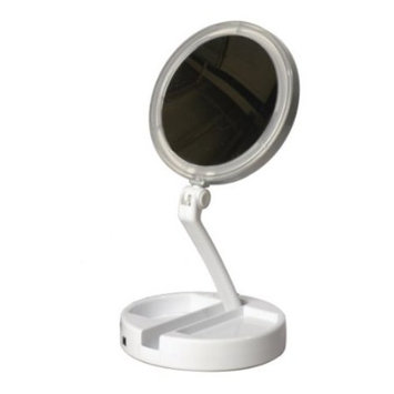 Floxite 12x/1x LED Lighted Folding Vanity/Travel Mirror