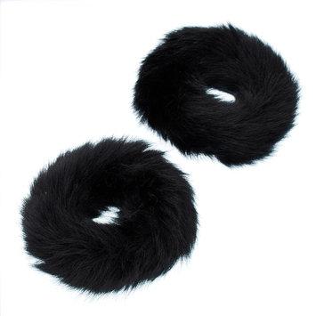 Mudd® Faux Fur Hair Tie Set, Women's, Black