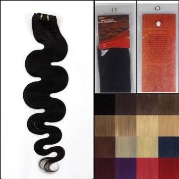 20 inch Indian 100% TRUE VIRGIN Remy Human Hair Extensions #1B Body Wave Weave []