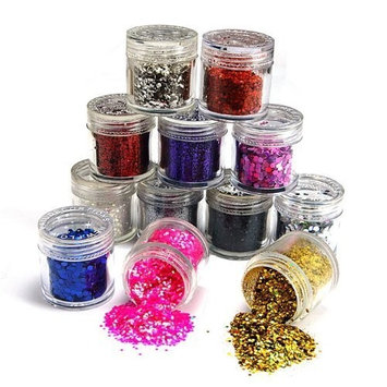 12 color nail art glitter sheets acylic tips Ongle