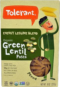 Tolerant Food Organic Penne Pasta Energy Legume Blend Green Lentil - 8 oz pack of 4