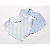 Agabang giggle Organic Cotton Baby Banada Bib Heathered Blue 2-Pack
