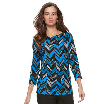 Women's Dana Buchman Half-Cowlneck Top, Size: XL, Turquoise/Blue (Turq/Aqua)